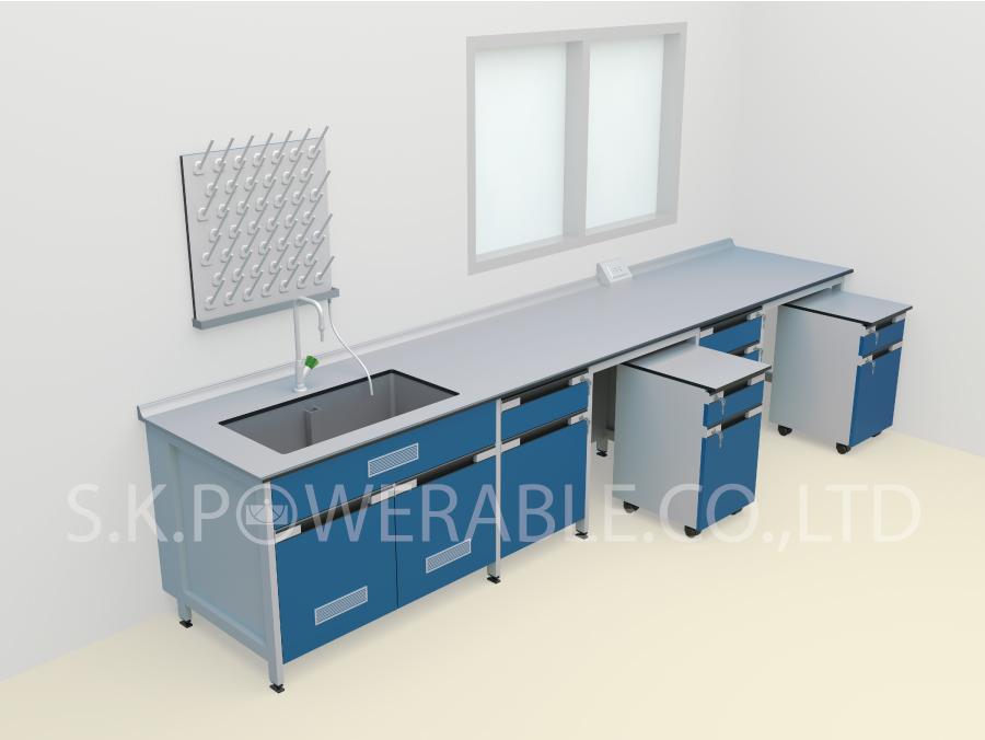 โต๊ะปฎิบัติการโครงสร้างไม้และเหล็ก (ชนิดตู้ Mobile)